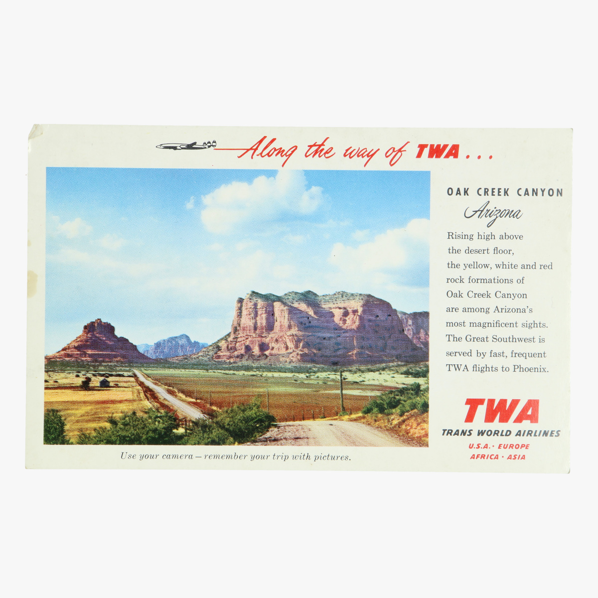 Afbeeldingen van postkaart along the way of twa.. Oak creek canyon arizona trans world airlines