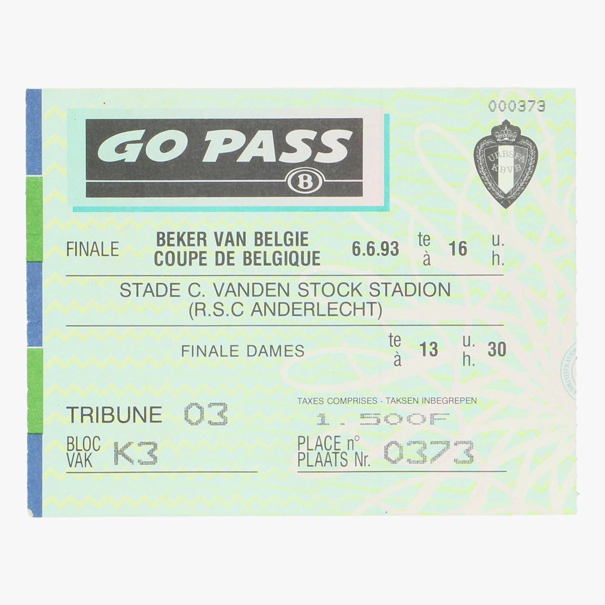 Afbeeldingen van voetbalticket treinticket beker van belgie 1993 anderlecht