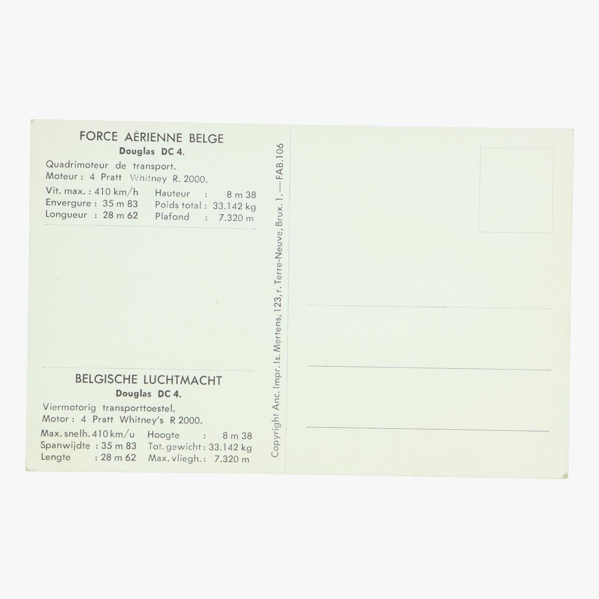 Afbeeldingen van postkaart belgische luchtmacht douglas dc.6