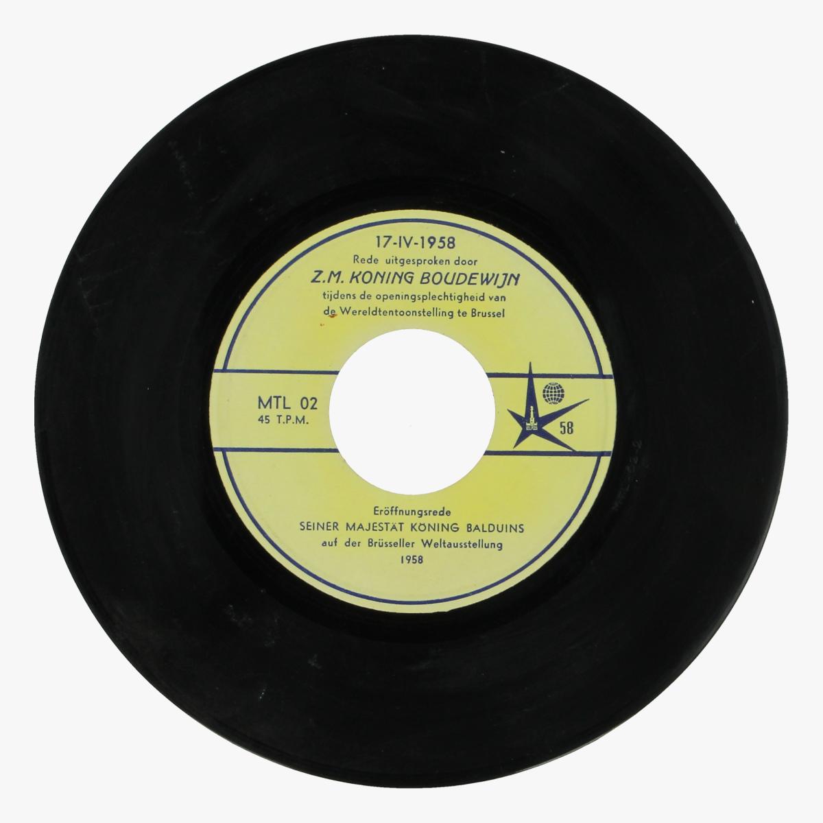 Afbeeldingen van expo 58 single rede uitgesproken door z.m. koning bodewijn tijdens de openingsplechtigheid van de wereldtentoonstelling te brussel