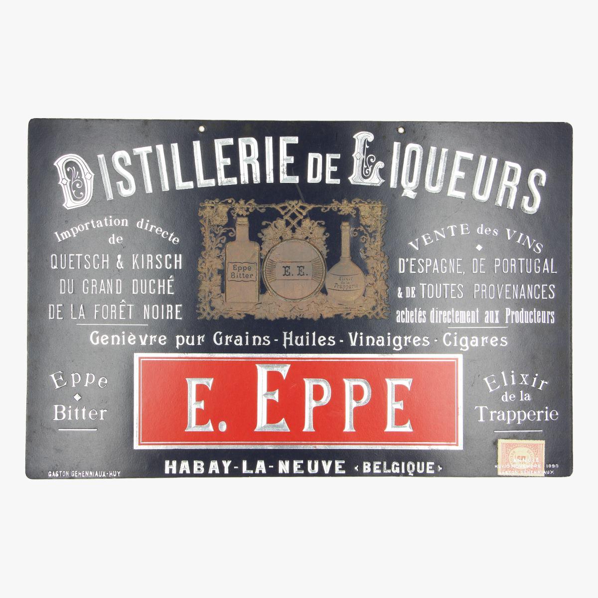 Afbeeldingen van CARTON PUBLICITAIRE 1898 DISTILLERIE LIQUEURS  E.Eppe Habay-la neuve Belgique