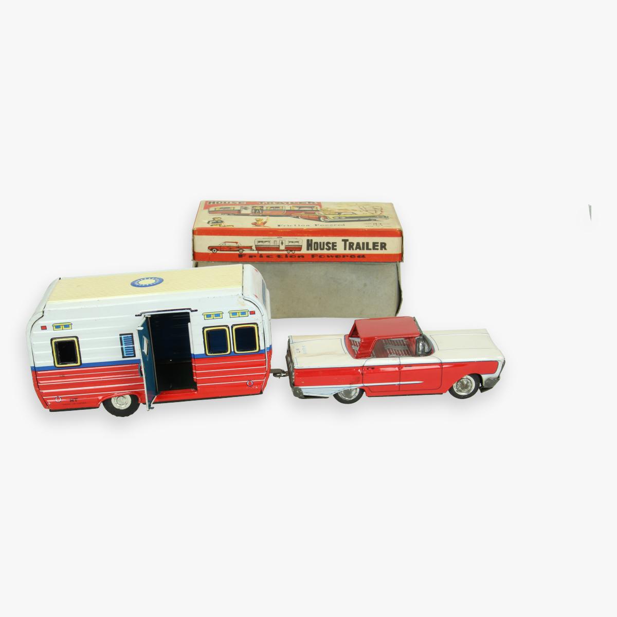 Afbeeldingen van tin toy friction powered . jaren 50 ''housetrailer'' made in japan masudaya zeer zeldzaam
