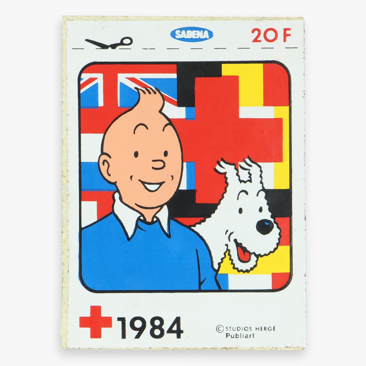 Afbeeldingen van sticker rode kruis sabena -hergé- kuifje -1984