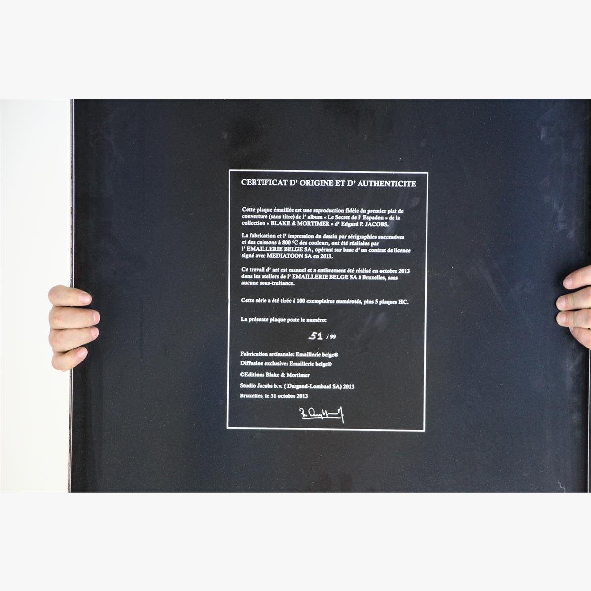 """Afbeeldingen van emaille bord blake & mortimer 2013 """"""""het geheim van de zwaardvis ''oplage 99 ex nr 51 van de 99 plaque emaillée le secret de l' espadon"""