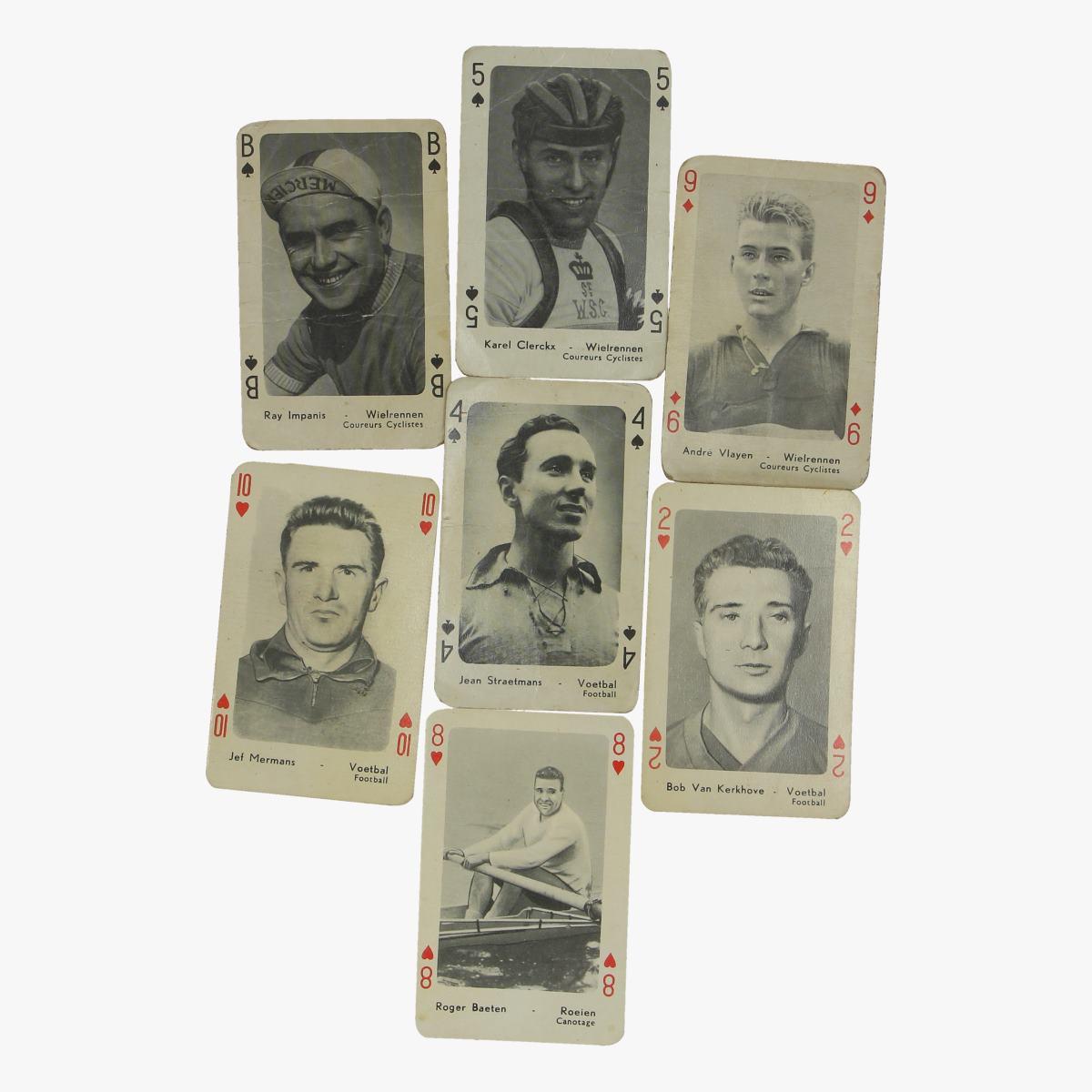 Afbeeldingen van oude speelkaarten 7 stuks voetbal en wielrennen maple leaf