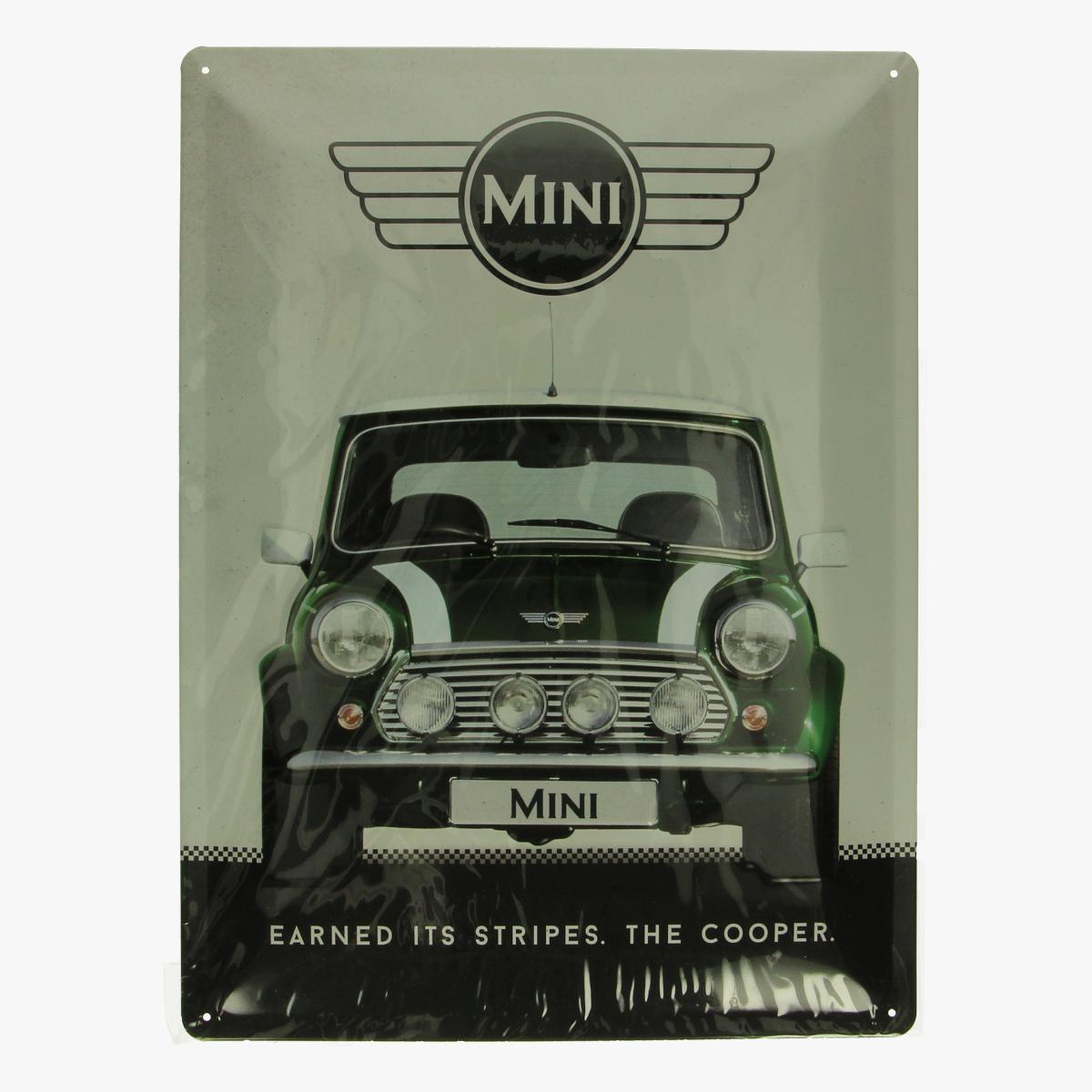Afbeeldingen van blikken bordje mini cooper repro geseald