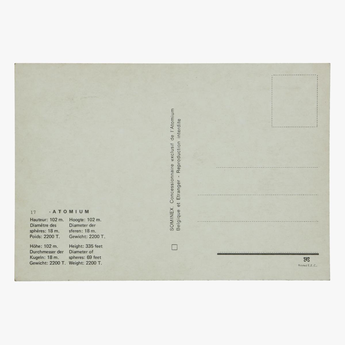 Afbeeldingen van postkaart atomium  hoogte 102m. diameter der sferen 18m gewicht 2200 ton