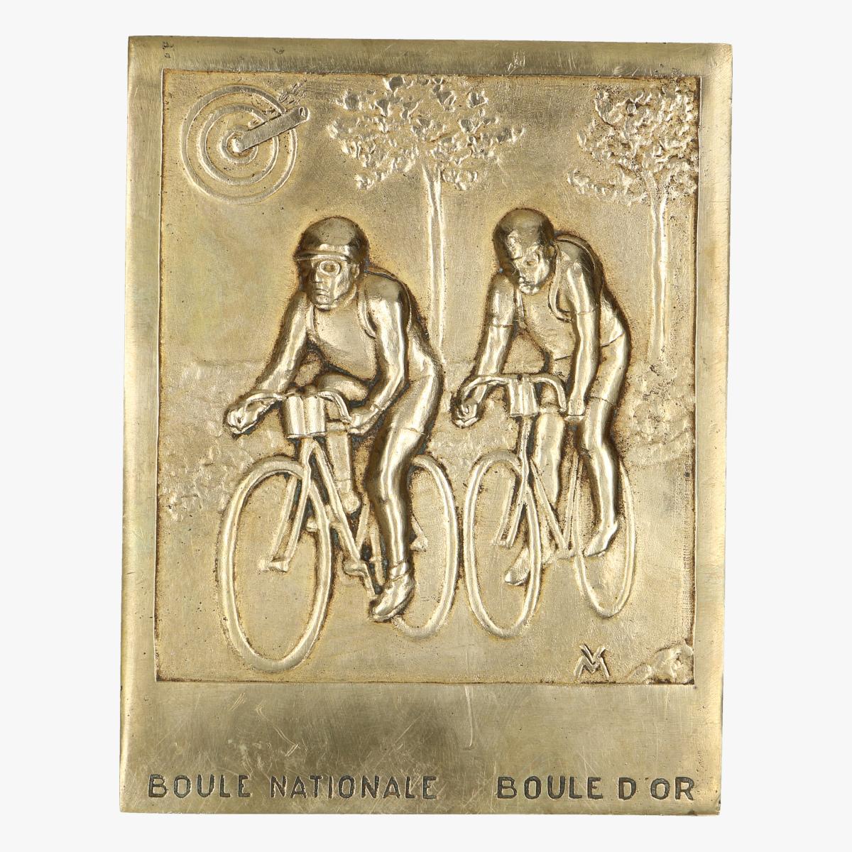 Afbeeldingen van mooie oud messing bordje boule nationale boule d'or wielrennen