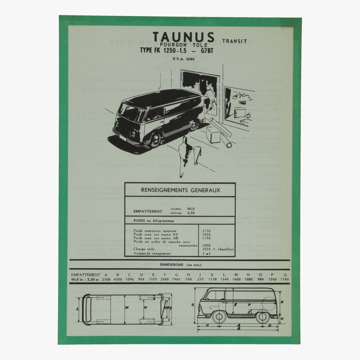 Afbeeldingen van specifications techniques taunus transit fourgon tole ford motor comp.