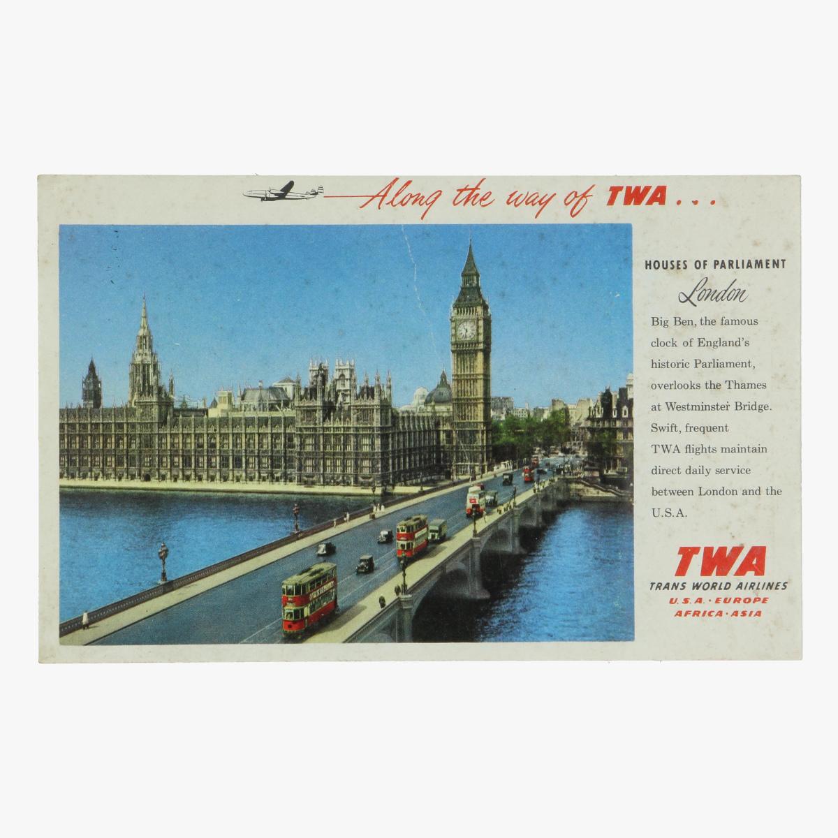 Afbeeldingen van reclame fleyer along the way of twa - trans world airlines - london