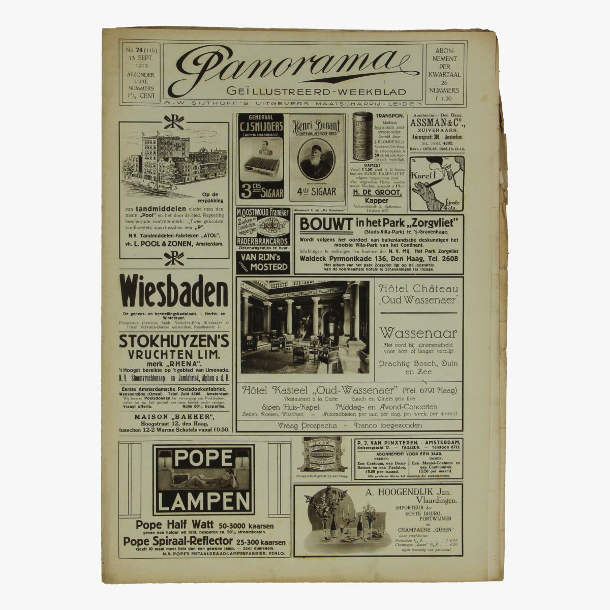 Afbeeldingen van oude weekblad panorama N°74 13 sept 1915