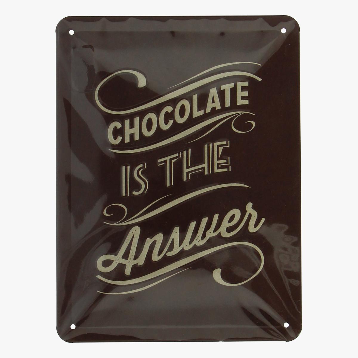 Afbeeldingen van blikken bordje chocolate is the answer