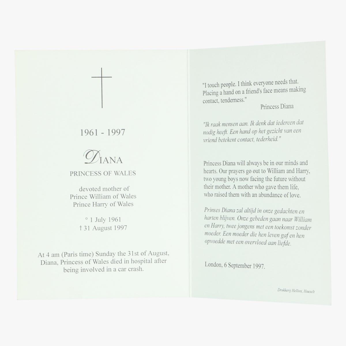 Afbeeldingen van doodsprentje Diana princess of wales
