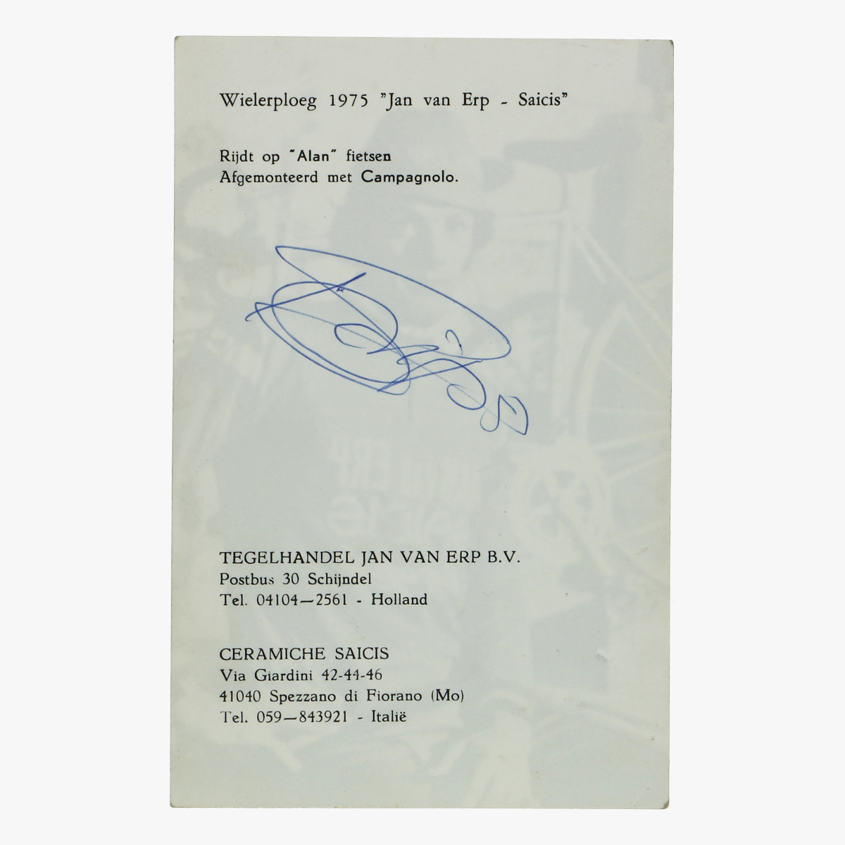 """Afbeeldingen van foto wielerploeg 1975 """" jan van erp - saicis"""""""