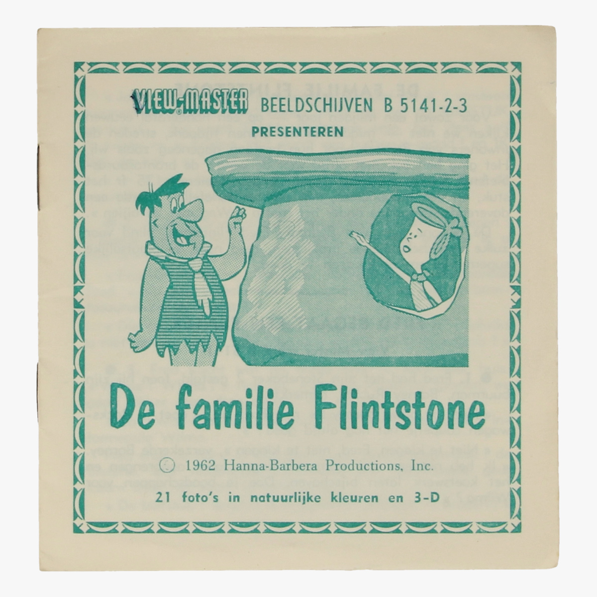 """Afbeeldingen van View-Master De Flintstones in """"Wilma krijgt rijles"""". Nr. B 5143. Beeldschijf 3"""