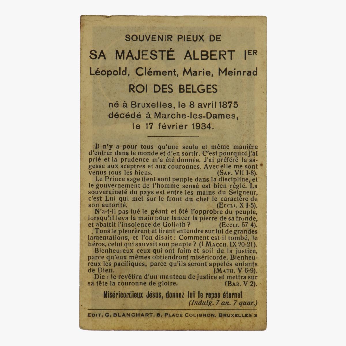 Afbeeldingen van doodsprentje Albert 1 franstalig