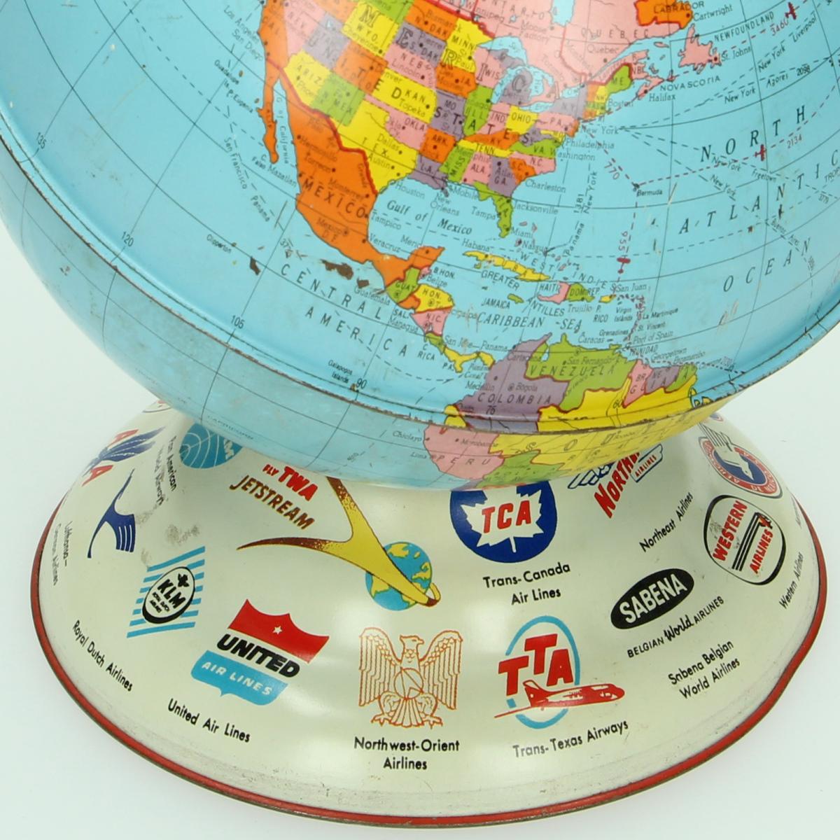 Afbeeldingen van Blikken spaarpot wereldbol Ohio Art Litho