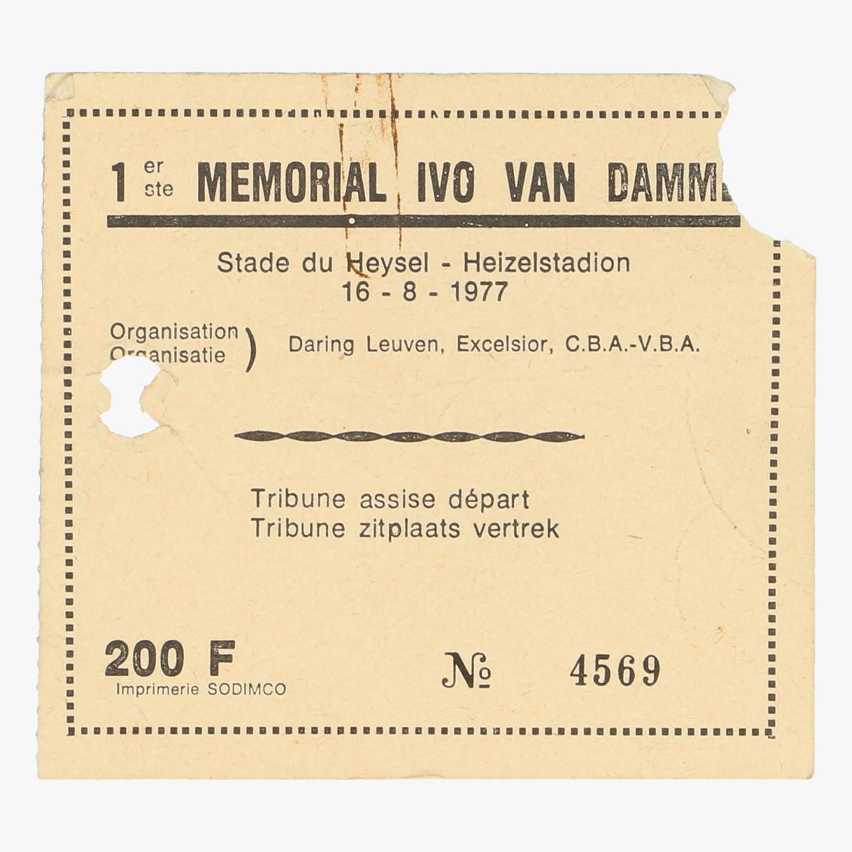 Afbeeldingen van  ticket memorial ivo van damme  16-8-1977