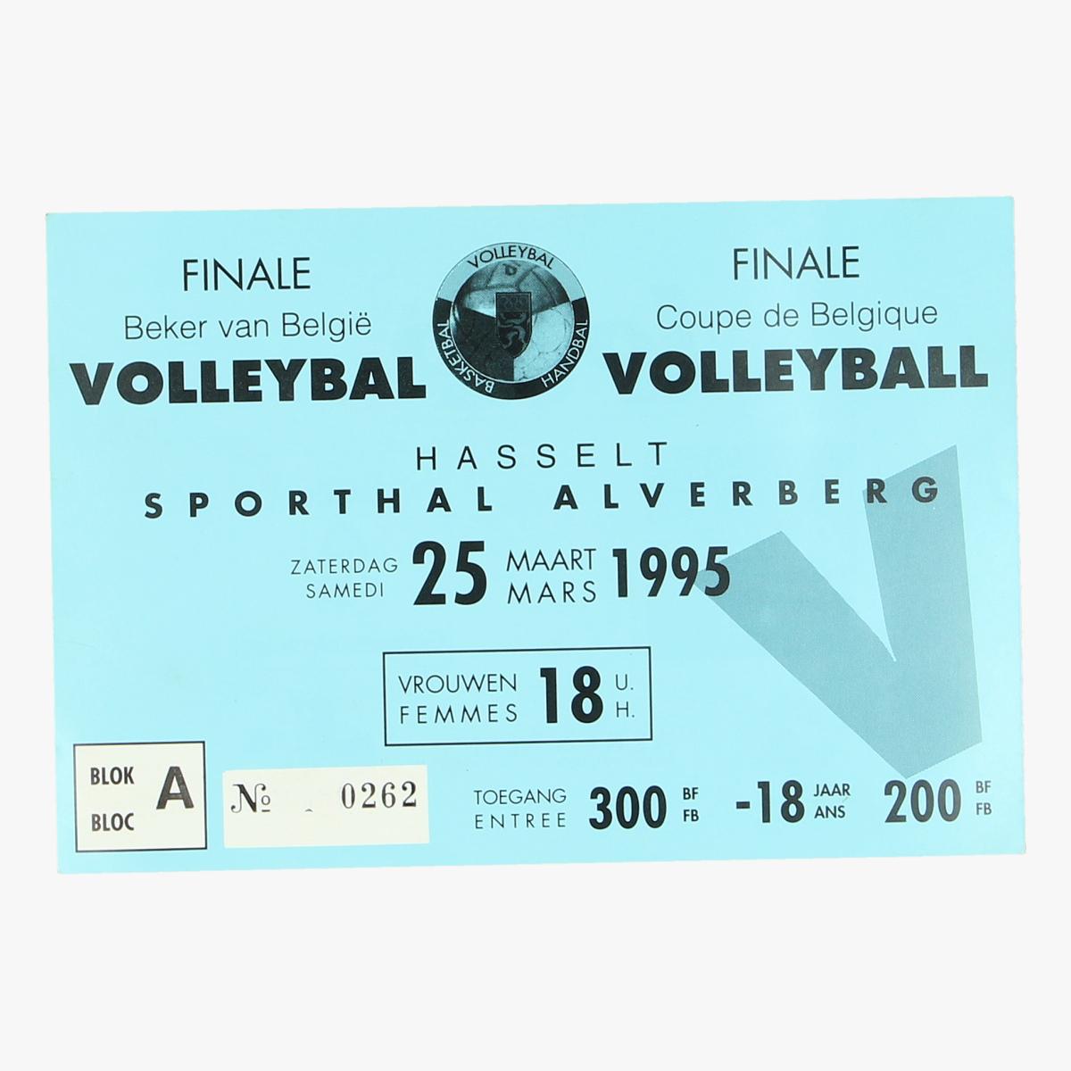 Afbeeldingen van ticket voleybal vrouwen beker van belgie 25 maart 1995