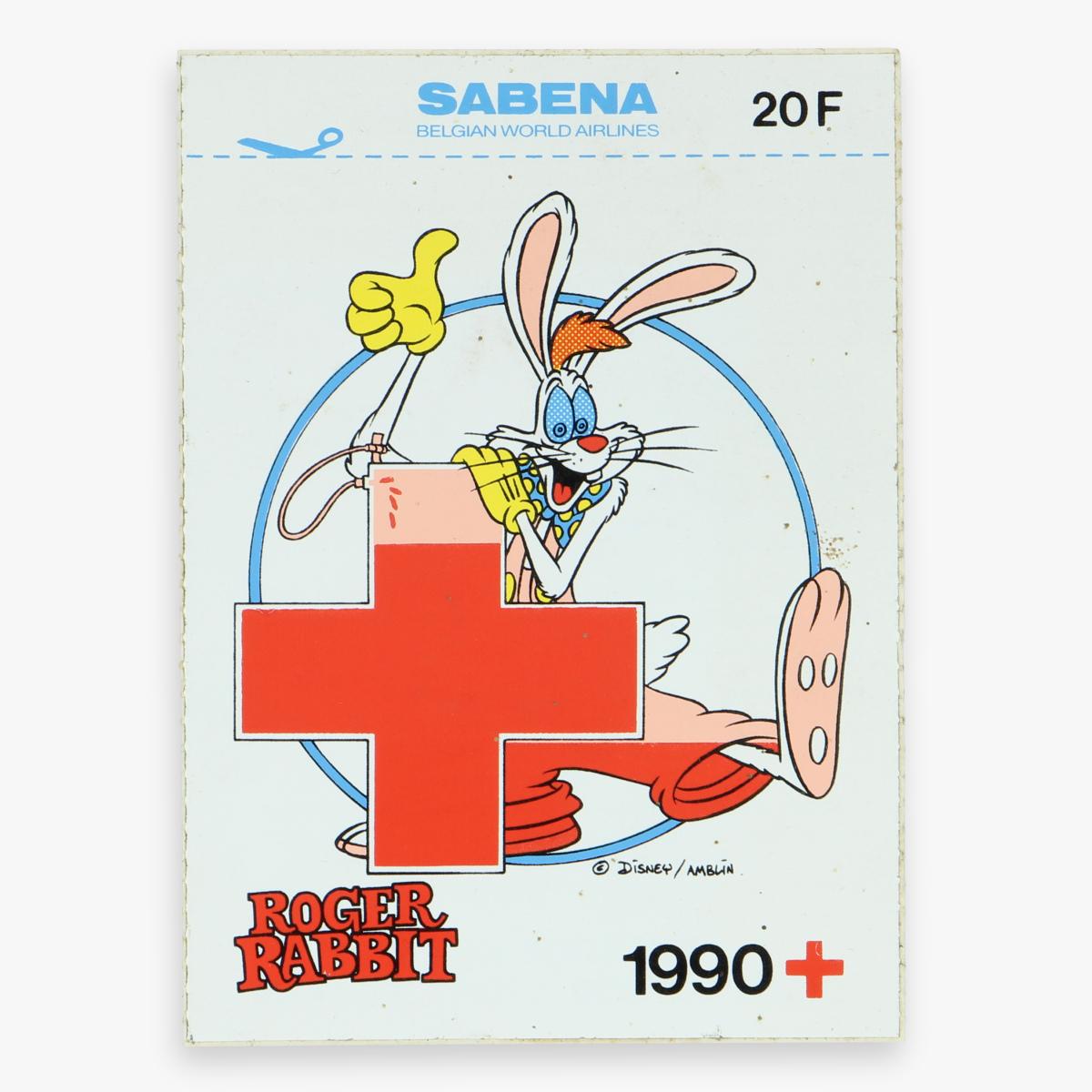 Afbeeldingen van sticker roger  rabit -  disney, sabena, het belgische rode kruis 1990