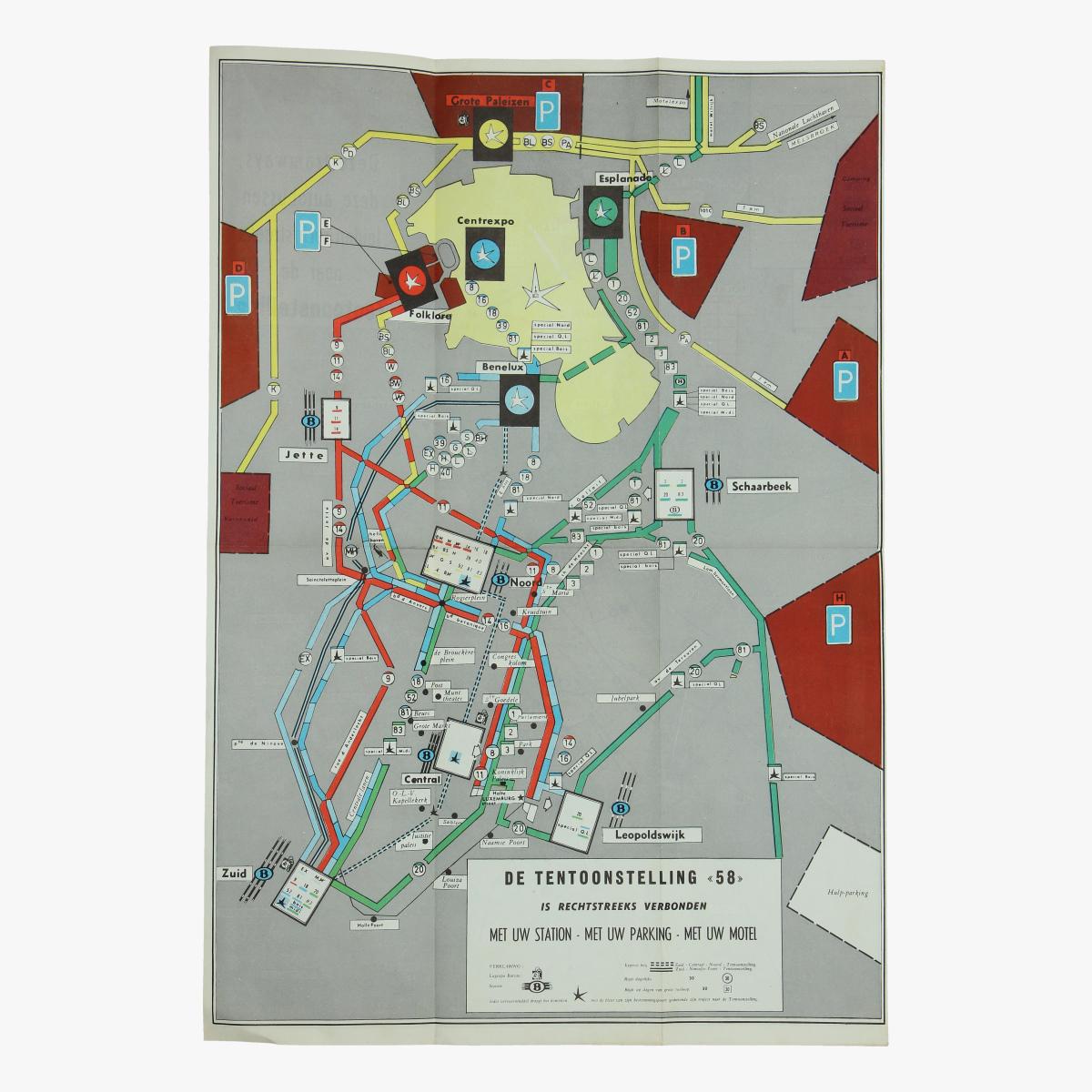 Afbeeldingen van expo 58 kaart deze tramways deze autobussen leiden rechtstreeks naar de tentoonstelling