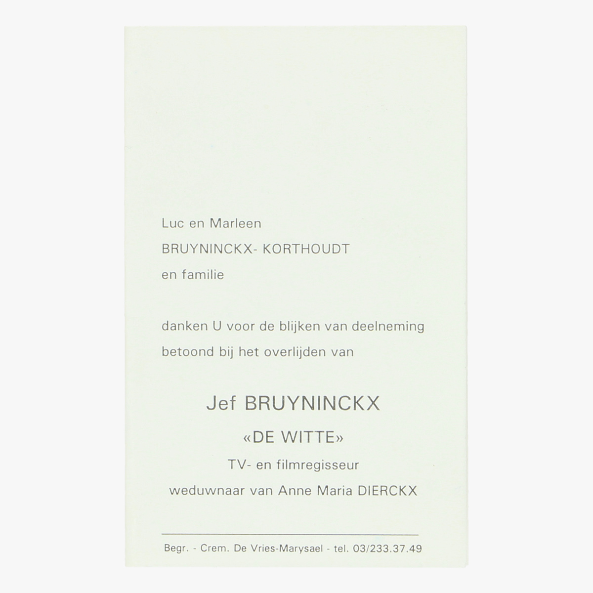 Afbeeldingen van bidkaartje  Jef Bruyninckx (de witte)