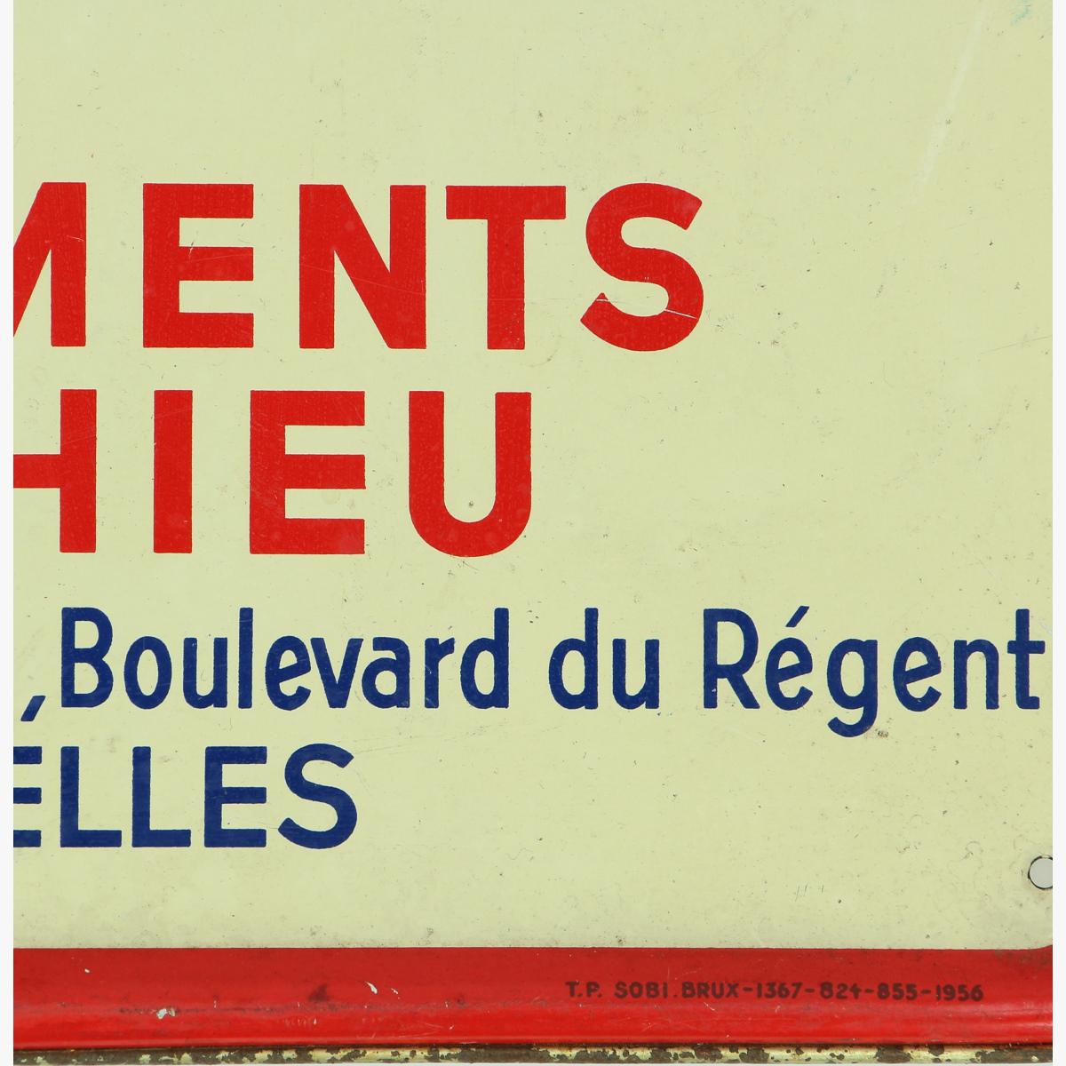 Afbeeldingen van blikken reclame bord 1956 metaroc S.A.CIMENTS DE THIEU