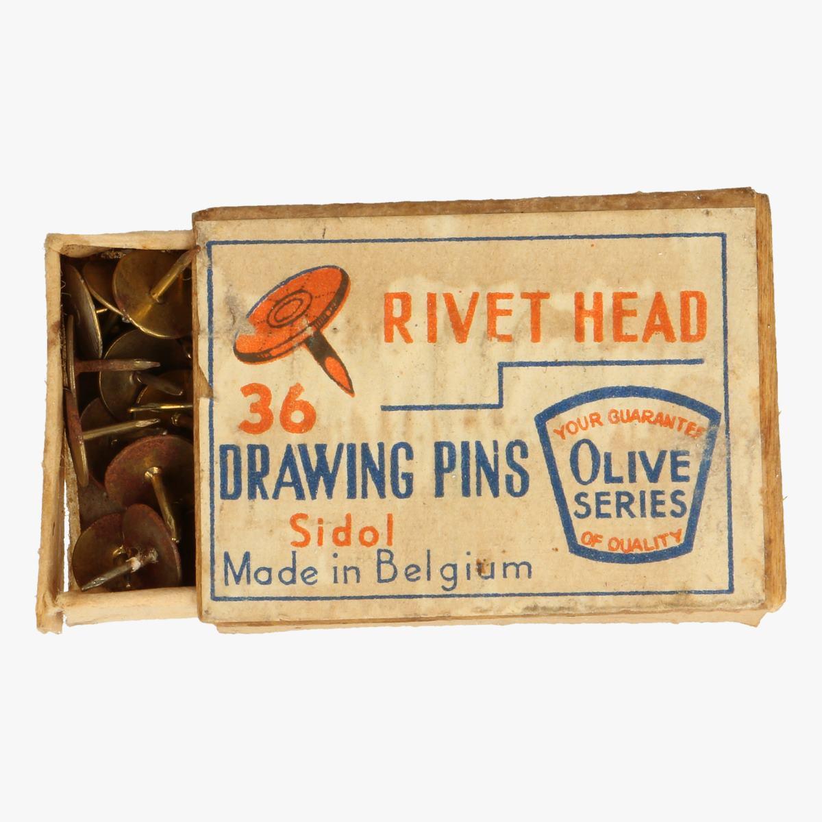Afbeeldingen van oud doosje drawing pins rivet head made in belguim