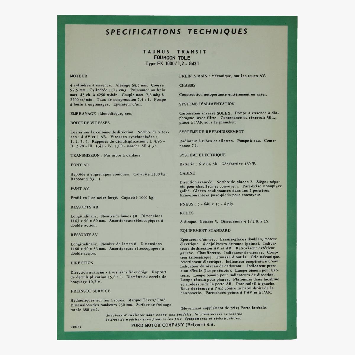 Afbeeldingen van specifications techniques taunus transit fourgon tole type fk 1000 ford motor company