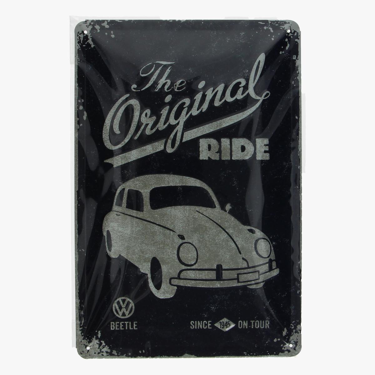 Afbeeldingen van blikken bordje the original ride beetle volkswagen geseald repro