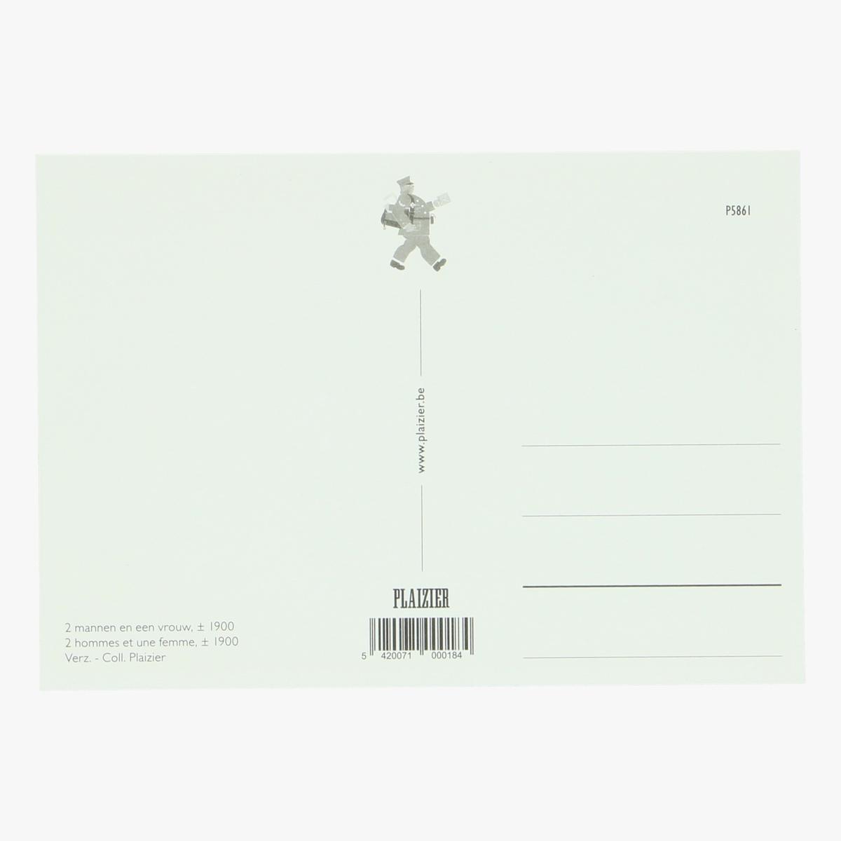 Afbeeldingen van postkaart 2 mannen en en vrouw 1900 repro