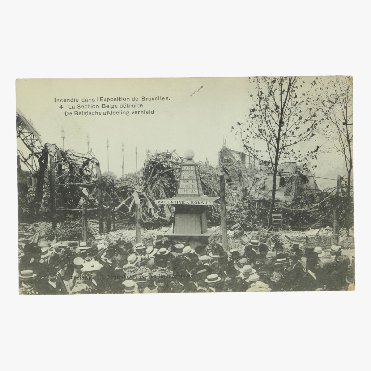 Afbeeldingen van postkaart Bruxelles exposition 1910 De Belgische afdeeling vernield