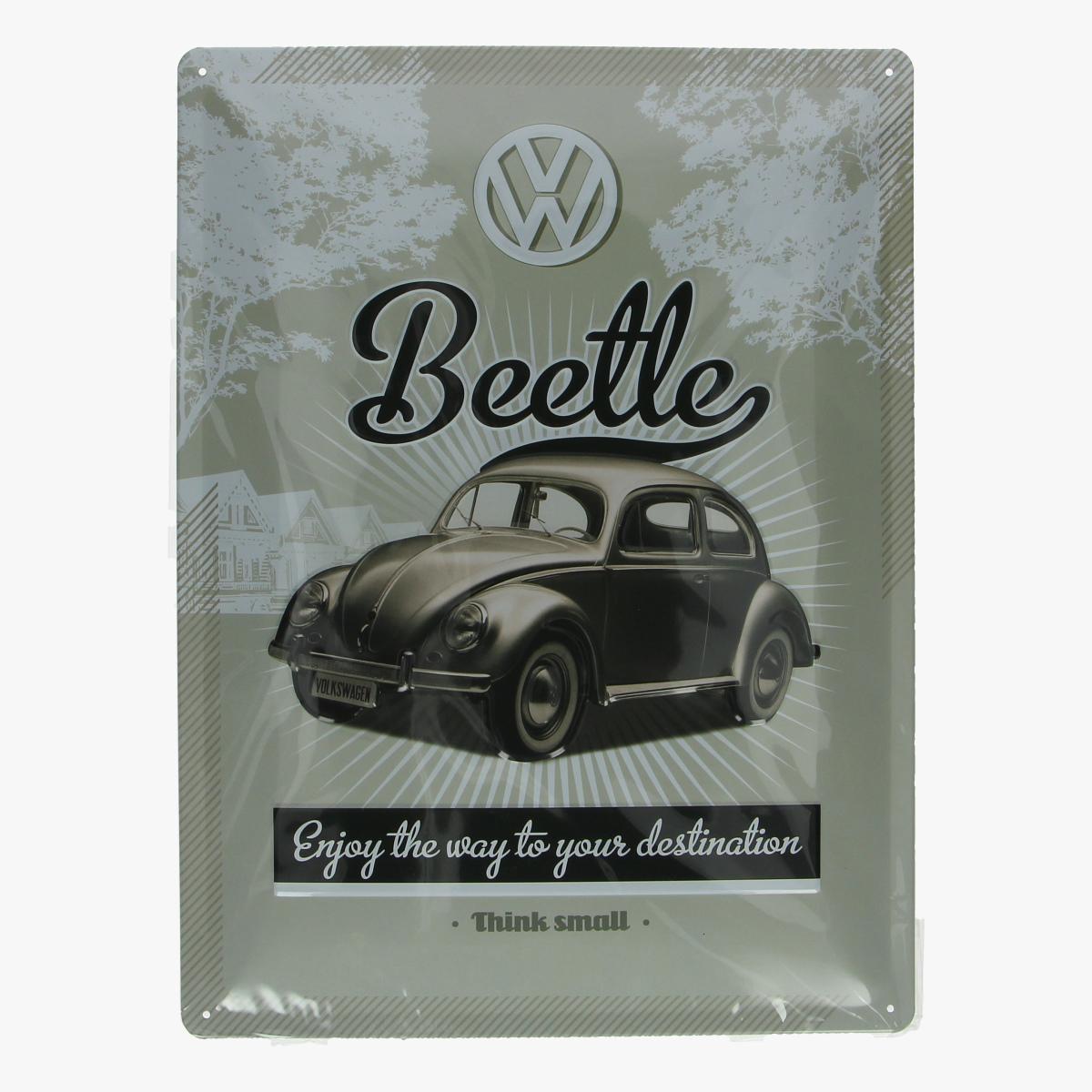 Afbeeldingen van blikken bord beetle volkswagen geseald