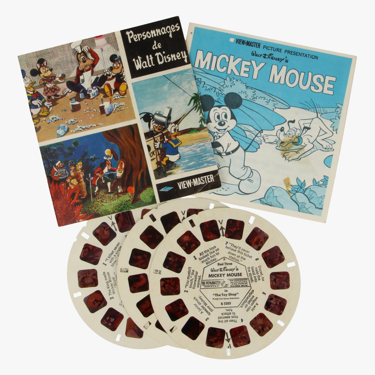 Afbeeldingen van View-master Mickey Mouse: The brave little tailor, Pluto, the pointer, the Toy shop