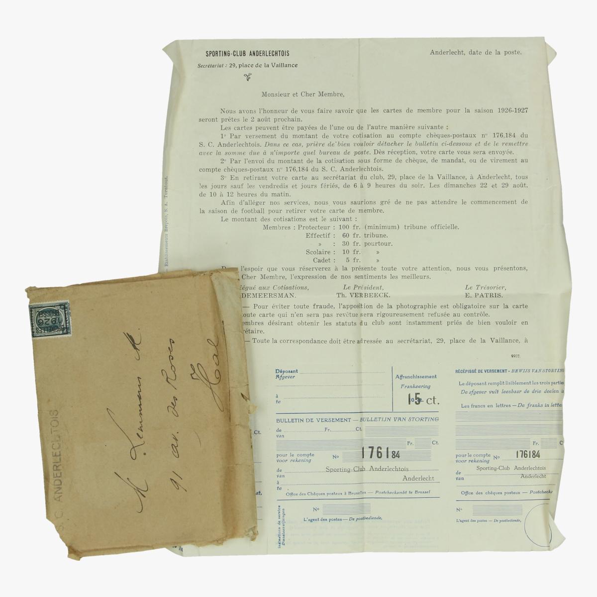 Afbeeldingen van sporting club anderlecht lidmaatschap overschrijving en betalingsbewijs 1926/27
