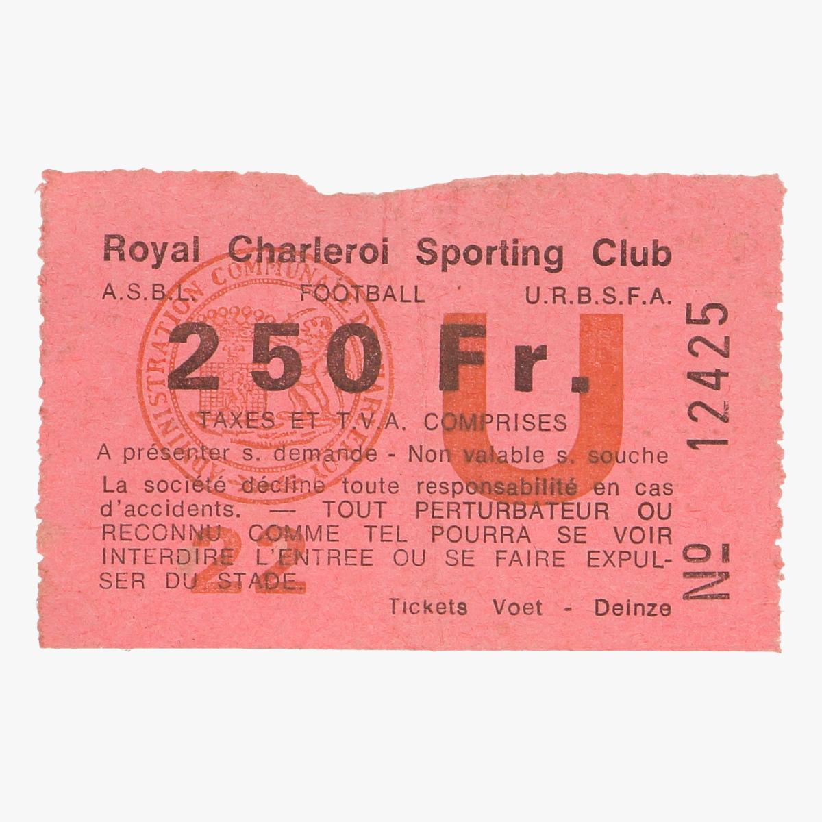 Afbeeldingen van voetbalticket royal charleroi sporting