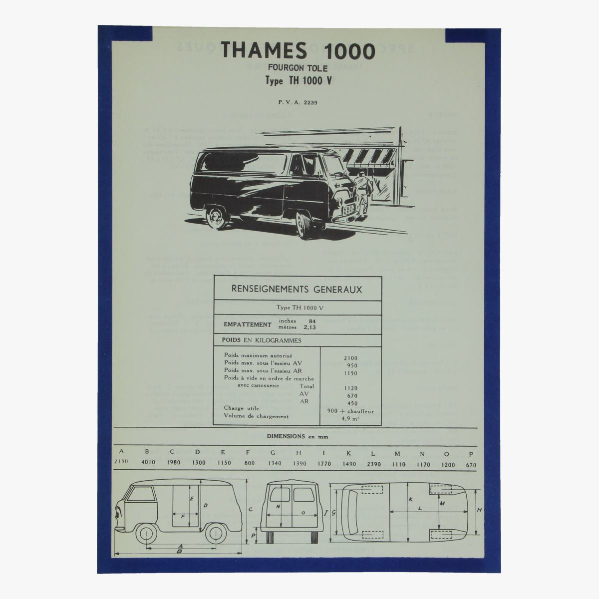 Afbeeldingen van specifications techniques thames 1000 fourgon tole th 1000-v ford