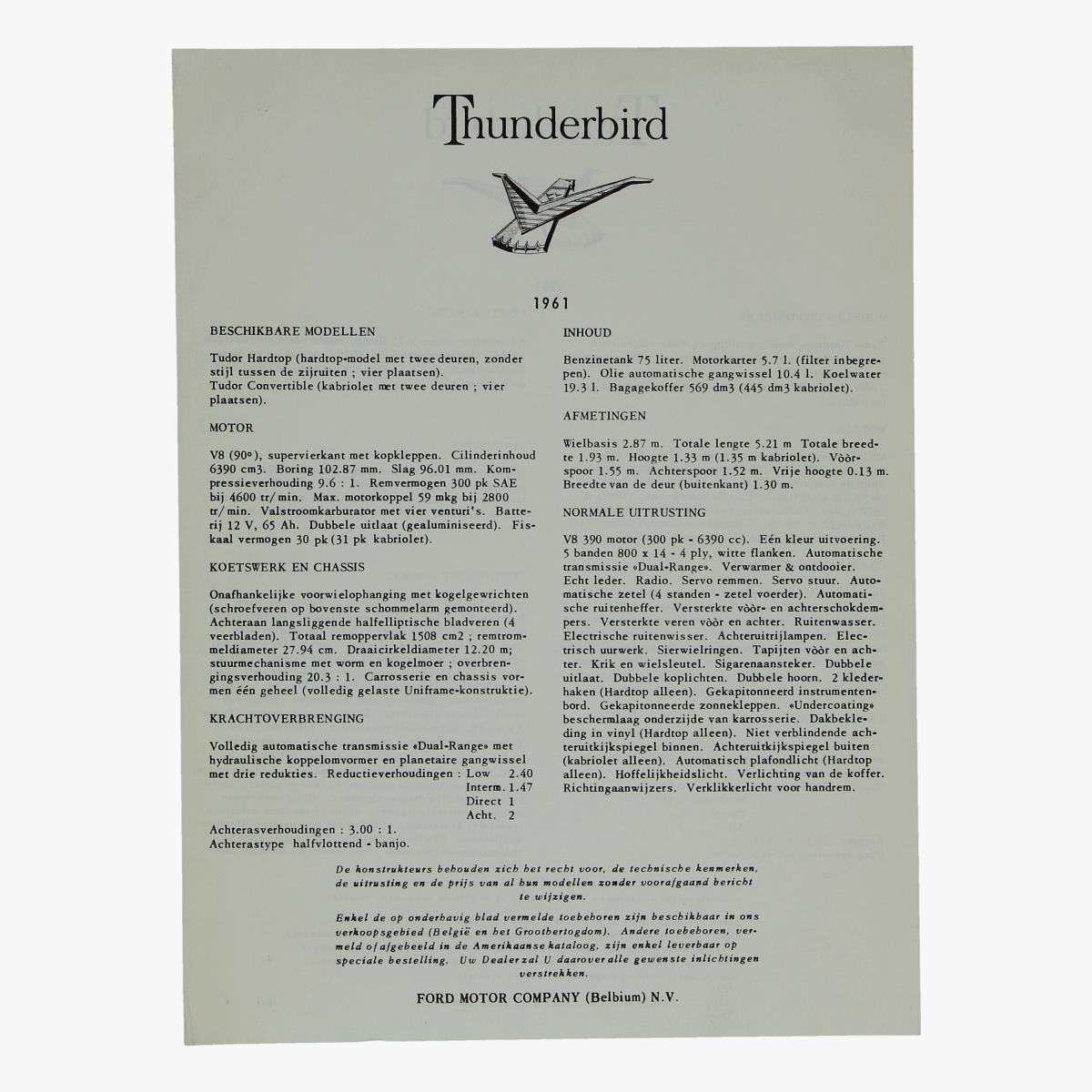 Afbeeldingen van oude folder thunderbird 1961 ford motor company