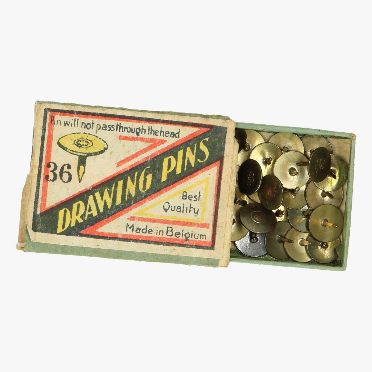 Afbeeldingen van oude doosje drawing pins made in belguim