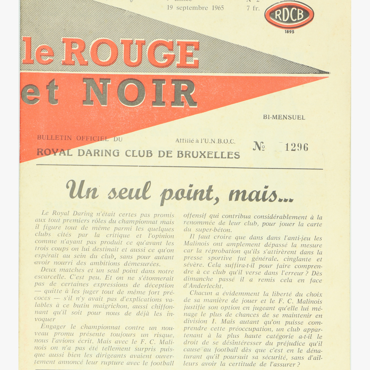 Afbeeldingen van club blad royal daring club de bruxelles 19/9/1965 nr°2