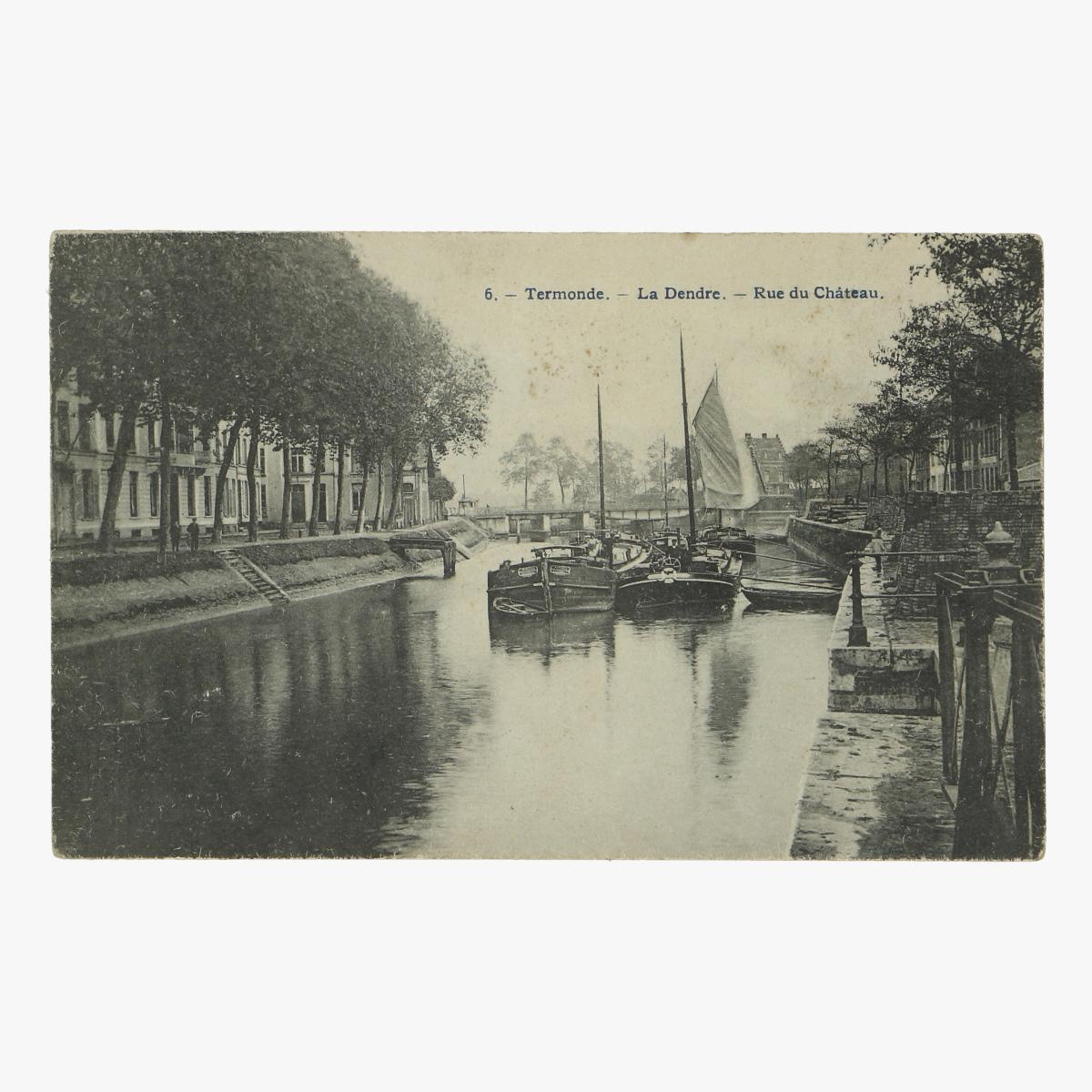 Afbeeldingen van oude postkaart Termonde.-La Dendre.-Rue du Chateau