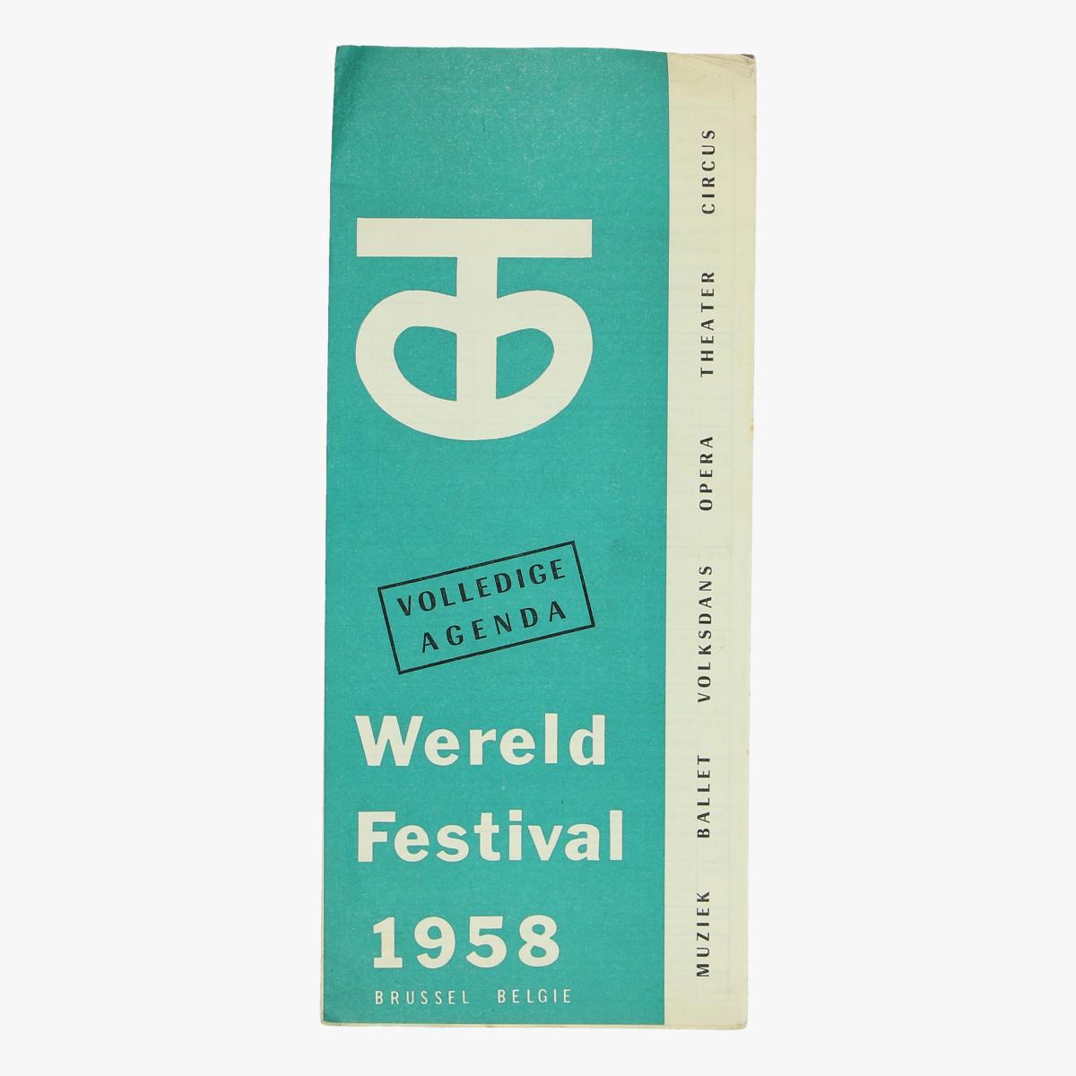 Afbeeldingen van expo 58 fleyer volledige agenda wereld festival 1958 brussel belgie