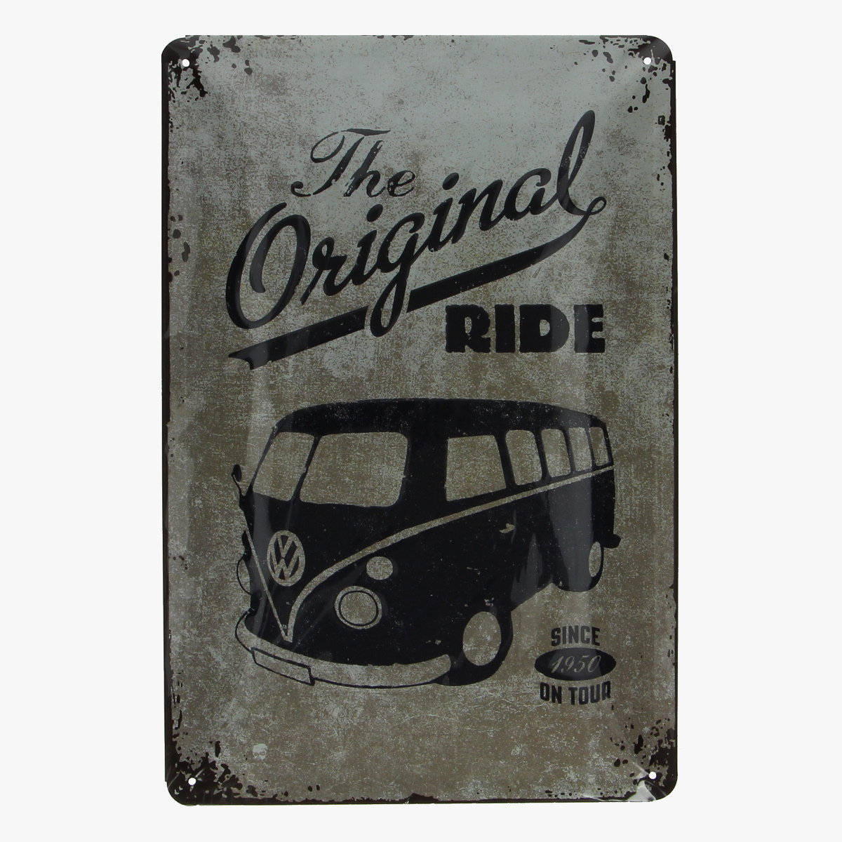 Afbeeldingen van blikken bordje the original ride volkswagen busje geseald repro