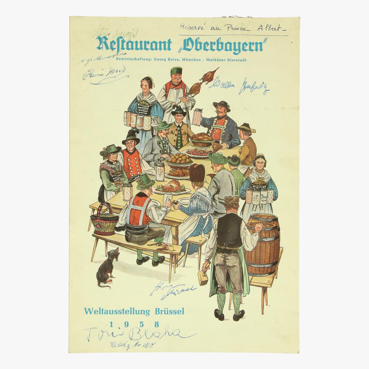Afbeeldingen van expo 58 menukaart restaurant oberbayern