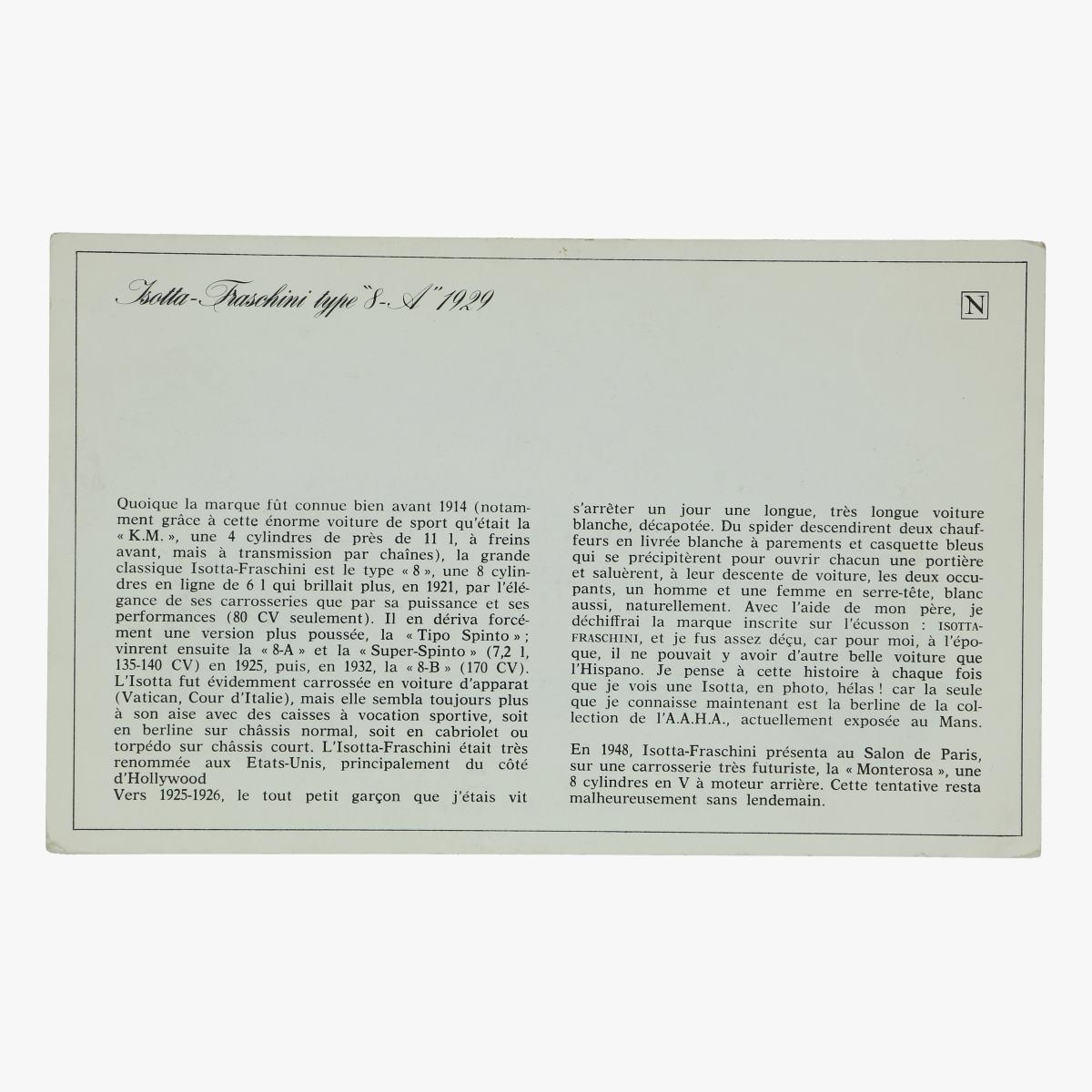 Afbeeldingen van kaart Isotta - Fraschini type 8 1929 P. Dumont