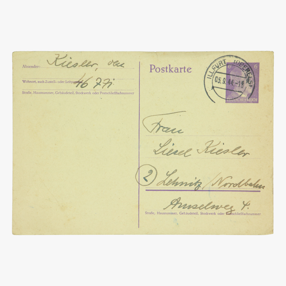 Afbeeldingen van Duitse postkaart 1944