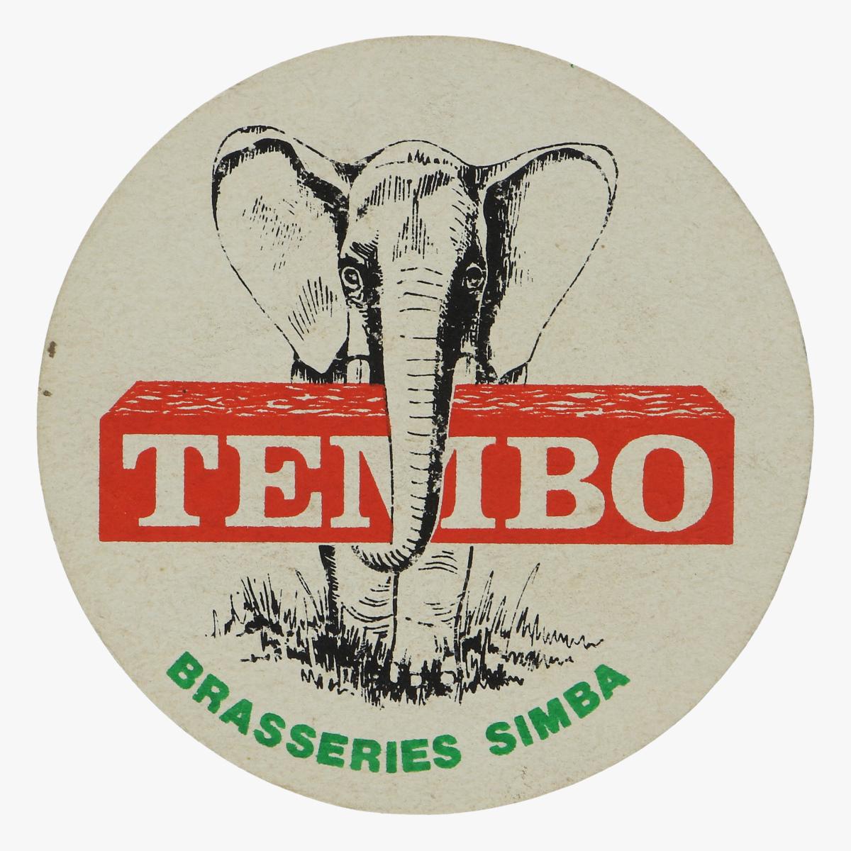 Afbeeldingen van bierkaartje tembo Simba brasseries