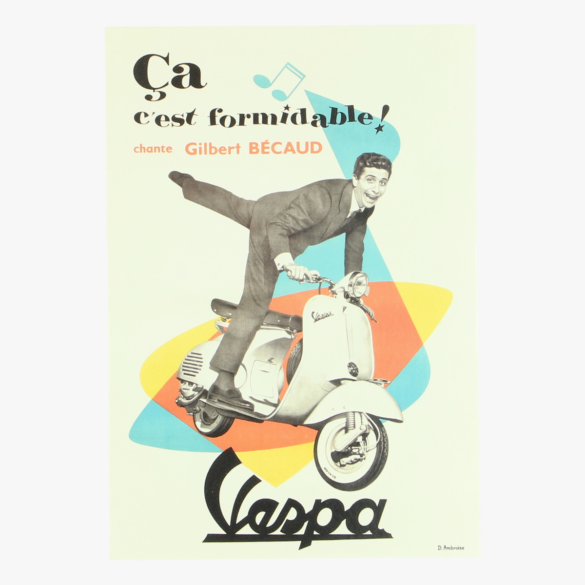 Afbeeldingen van postkaart Gilbert Bécaud. Vespa