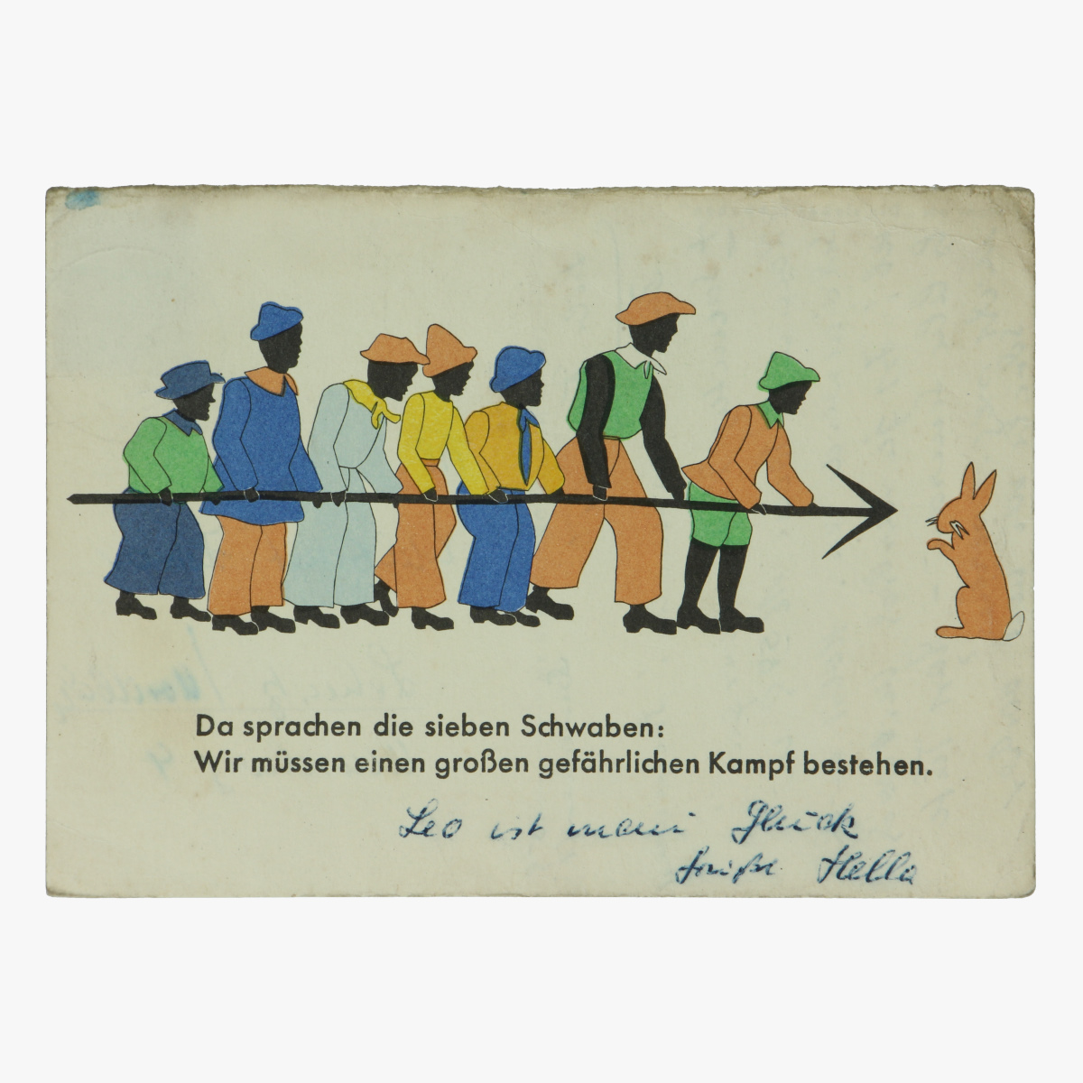 Afbeeldingen van Da sprachen die sieben Schwaben. Postkaart. Wir mûssen einen grofen gefährlichen Kampf bestehen