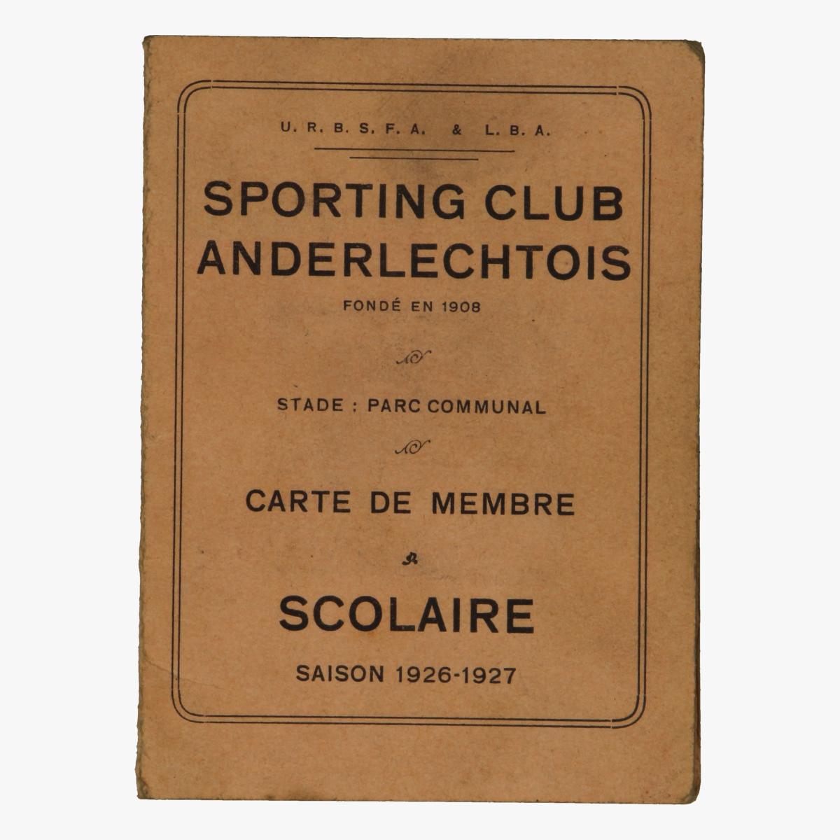 Afbeeldingen van voetbal sporting club anderlechtois carte de membre scolaire saison 1926-1927